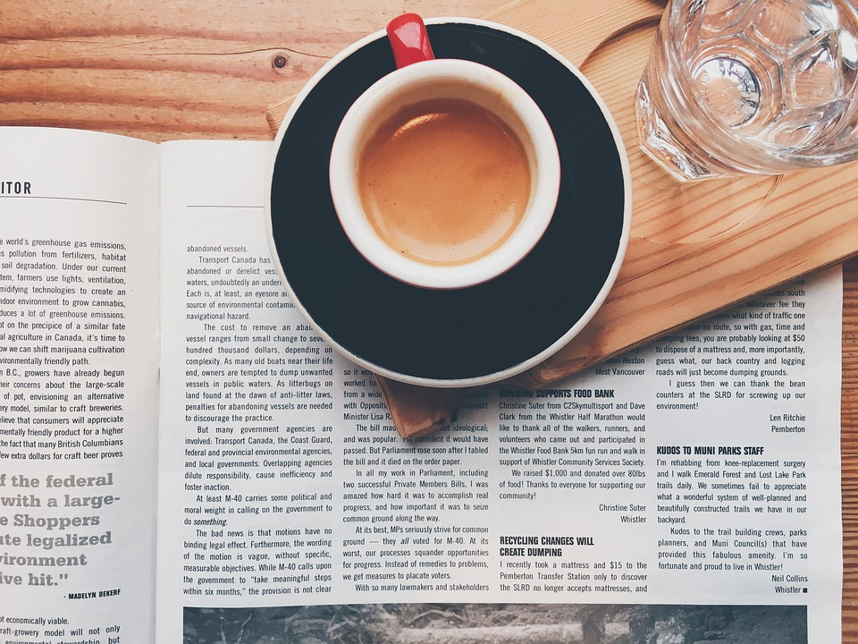 newspaper and coffee